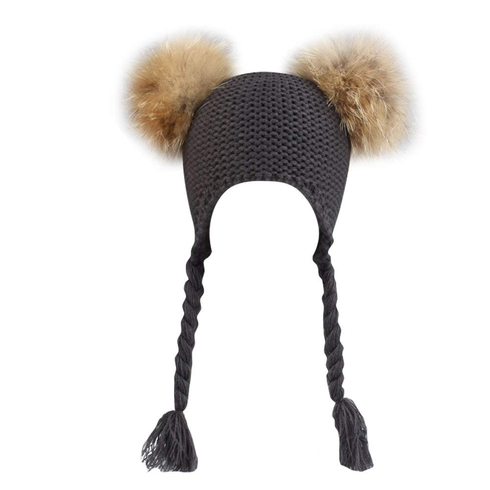 Get Quotations · LSERVER Kids Baby Boys Girls Double Raccoon Pompom Ball  Beanie Toboggan Hat Crochet Wnter Knitted Warm a5a5a3c04f4a