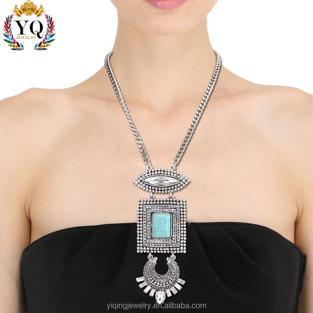 NYQ-00028 latest design hamsa turquoise crystal jewelry necklace for women