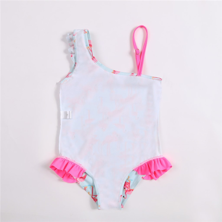 OEM  baby girl one piece flamingo printed Off Shoulder ruffle children  Swimwear custom kids bathing suit