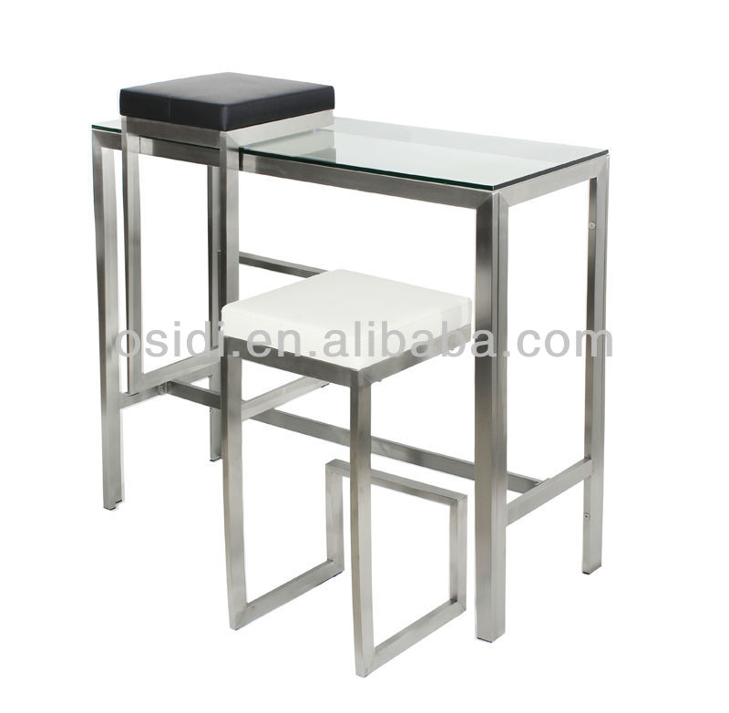 Modern stainless steel bar table with toughened clear glass top