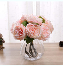 Factory high quality home decoration 9 diameter rose silk artificial flower
