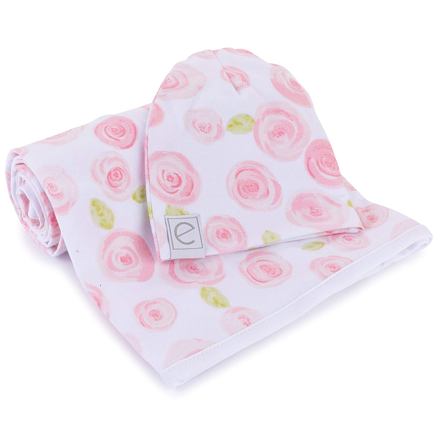 Cotton Knit Jersey Swaddle Blanket and 2 Beanie Baby Hats Gift Set, Large Receiving Blanket by Ely's & Co (Rose Print)