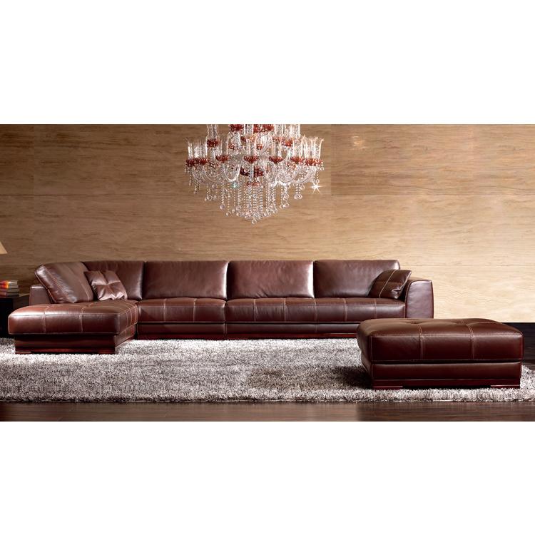 Venda por atacado italiano moderno mobiliário doméstico secional canto sofá de couro genuíno sofá 7 lugares sala de estar sofá conjunto design