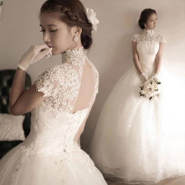 White Lace Short Sleeve High Neck Skater Women Wedding Dresses Xyd Hb1002