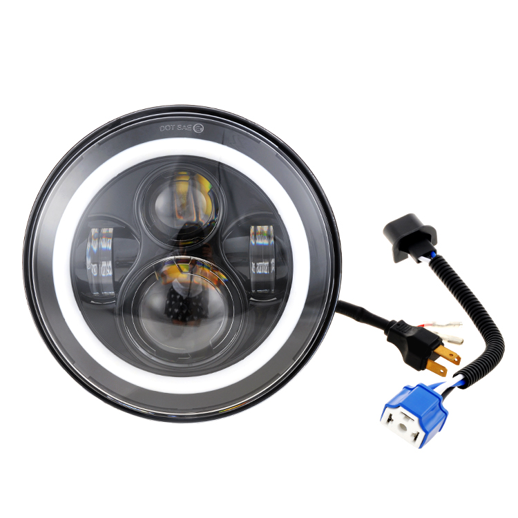 "sets of Round 7"" inch  halo headlight + 2 x 4.5"" inch led passing light + 7inch mounting bracket for motorcycle"