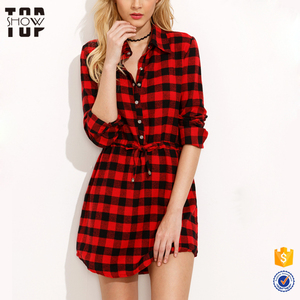Wholesale clothing new design drawstring waist red plaid shirt dresses women