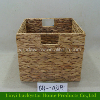 Home Decorative Corner Hand Woven Water Hyacinth Wicker Storage Baskets