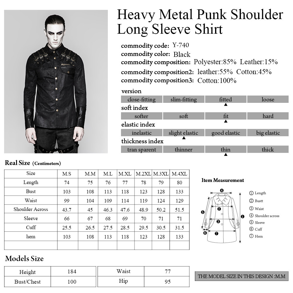Y-740 Heavy Metal Punk Texture Shoulder PU Coating Long Sleeve Shirt