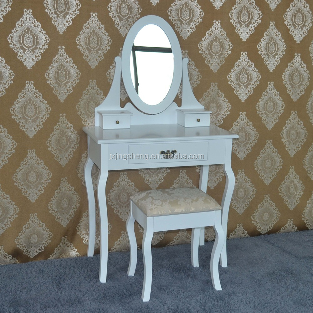 Wood White Vanity Set Make Up Table W/ Oval Mirr / White Dressing Table  With Swing Mirror Bedroom Furniture Shabby Vintage Style - Buy Wood White  ...