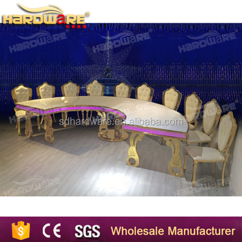 White Mdf Top Semi Circle Table Led Tables For Hotel Stainless Steel Leg Dining