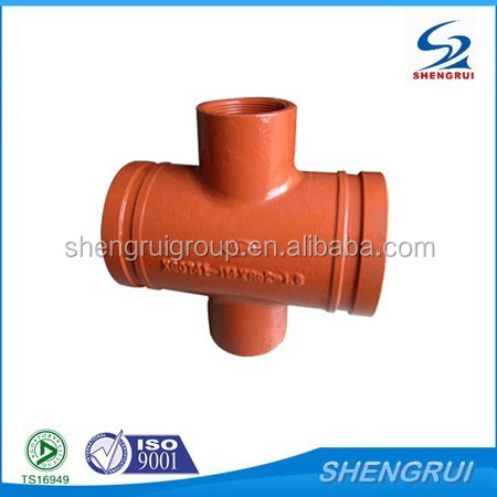 ASTM A536 Ductile Iron Mechanical Threaded Tee groove fittings and elbows