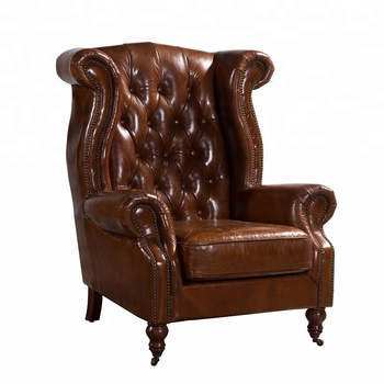Attirant Chesterfield Chair Top Grain Leather Antique Luxury Leisure Chair Genuine  Leather Wing Chair High Back