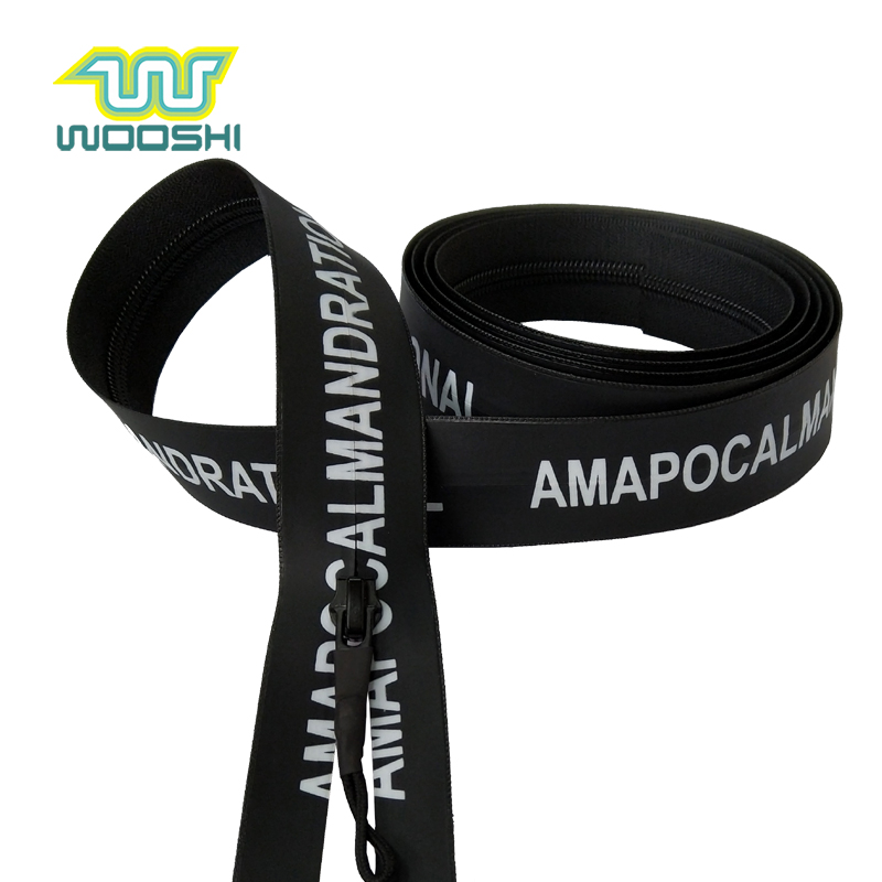 Heavy Duty Waterproof zipper PU Water Tight Nylon 5 Coil Invisible Custom Printed Zipper For Sports Uniform