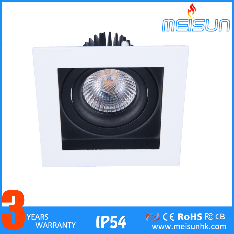 MEISUN 7W High Power CITIZEN COB LED Recessed Down Light/Focus Square anti-glare adjustable downlight