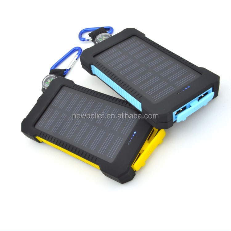 Hot jual LED senter solar charger power bank, 8000 mAh waterproof solar power bank