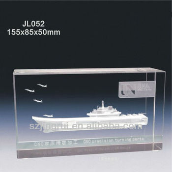 3d Laser Engraved Aircraft Carrier Crystal Glass Plaque