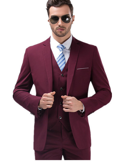 2015 Custom Made Slim Fit Groom Suits Wine Red Men Suits Men's Formal Party Suits For Special Occasion Suit (Jacket+Pant+Vest)