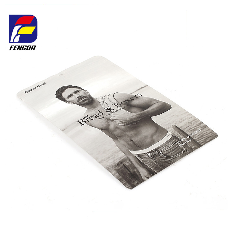 Factory custom printing top resealable garment packaging bag ziplock plastic man underwear packing bag