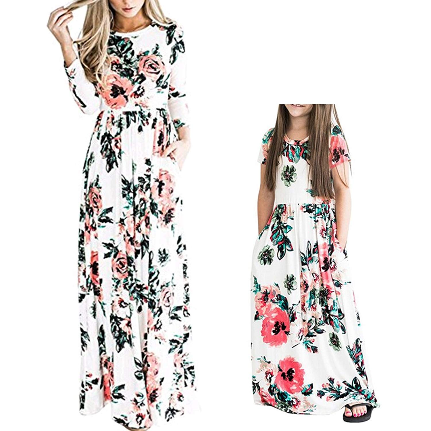 503e115d5a76 Get Quotations · Mommy and Me Maxi Dresses Bohemia Floral Printed Matching  Dresses for Daughter and Mom