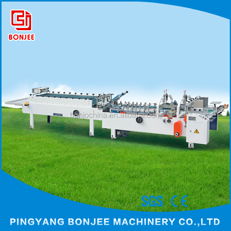 Bonjee Automatic Folding Carton Box Folder Gluer Machine / Chips Box Gluing Machine