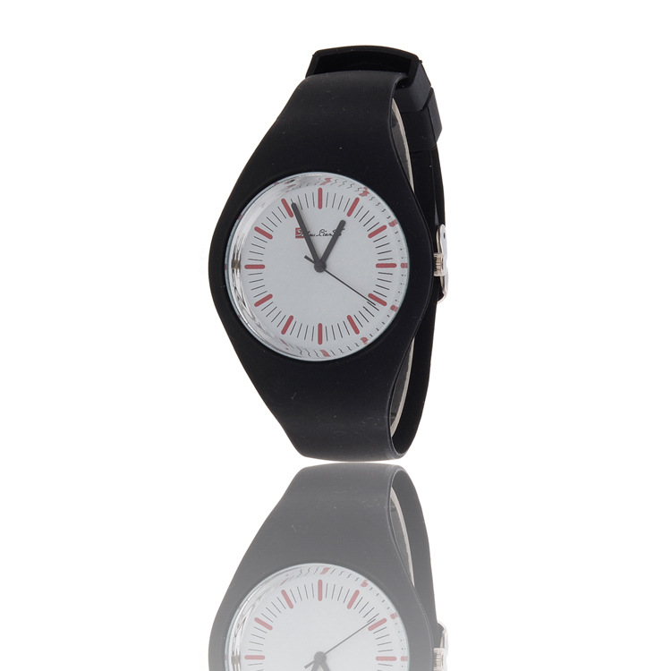 2015 New Arrival Geneva Brand Silicone Strap Quartz Lady Watch Best selling Supplier Jelly looks Black