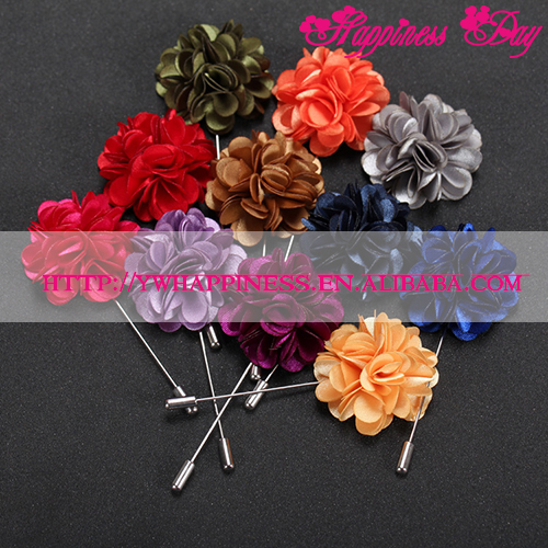 New Popular Style Men Lapel Pin Brooch Flower Suit Boutonniere for Wedding Groomsman Long Lapel Pin Frabic Flower