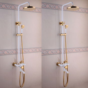 Luxury Style Bathroom Faucet Brass Gold And White Rain Shower Panel - Bathroom faucet and shower sets
