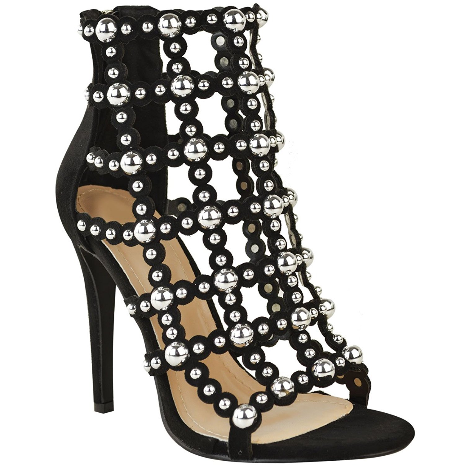 04cece981b1a0 Get Quotations · Fashion Thirsty Womens Silver Stud Stilettos High Heels Sandals  Gladiator Cage Shoes Size