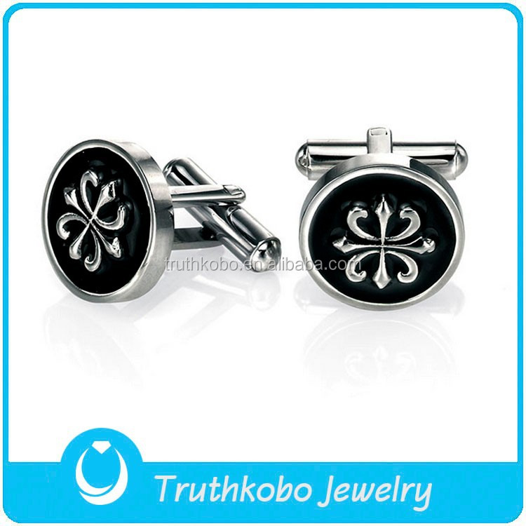 L-C0025 Antique Jewelry Fashion Brand Cuff Link Mens Jewelry Stainless Steel Black Epoxy Fleur De Lis Cufflinks Cuff Links