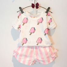 Kids Girls Clothing Set Summer Style Kids Girl Clothes Cute Ice Cream Hole T-shirt +Striped Bow Short Suit 2 pcs Clothing