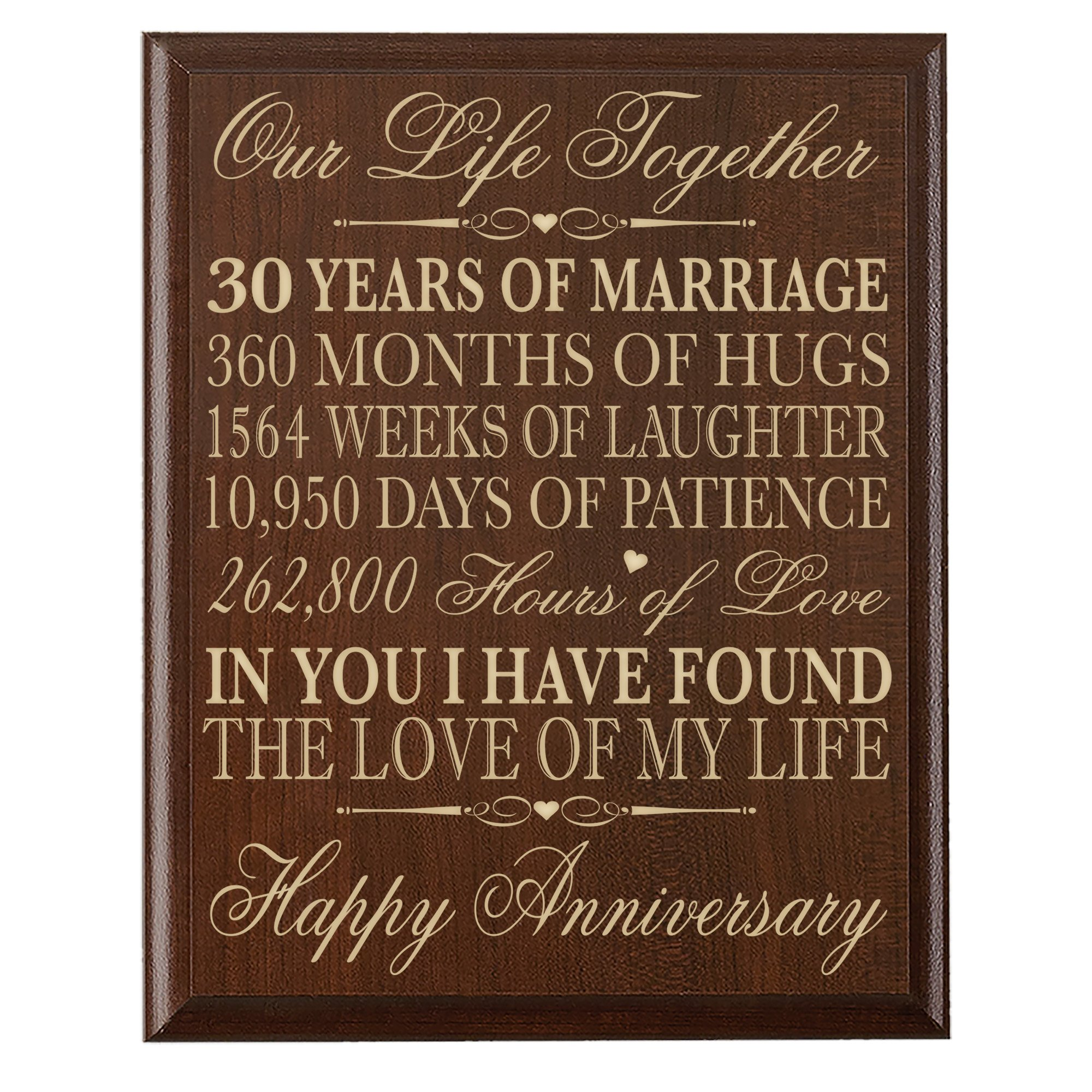 Buy 30th Anniversary Gift Ideas For Couple Parents 30 Year Wedding