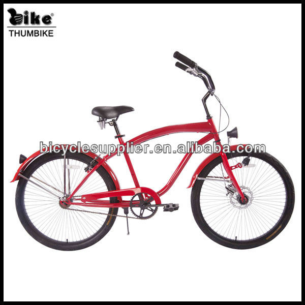 26'' red alloy frame women high quality beach cruiser bicycle