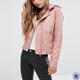 long sleeve asymmetric zip fastening women winter jacket wholesale plain pink faux leather motorcycle jacket