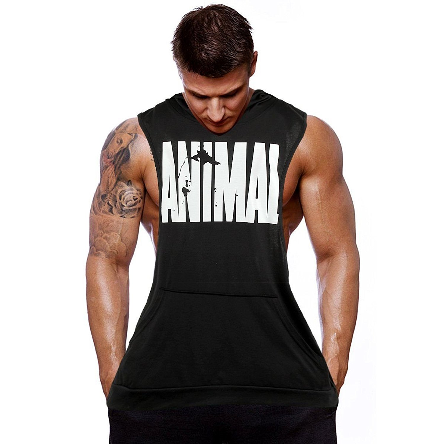 7689ec91142b5 Get Quotations · AA Mens Bodybuilding Stringer Black Clothing Stringer  Hoodie Tank Top Muscle Hooded Shirt XL