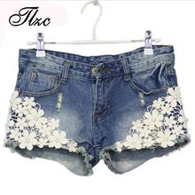 TLZC Lace Floral Beading Women Wash Jeans Denim Shorts Size S-2XL Rivet Decorated Summer Fashion Lady Short Pants Trousers G1005