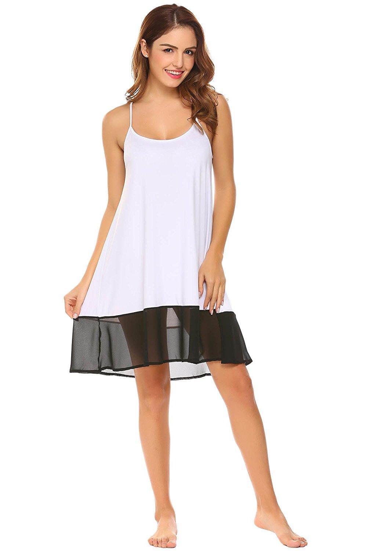 6c6b3c969d Get Quotations · Dongba Women Sexy Nightwear Sleeveless Nightgown Chemise  Patchwork Nighties Sleepwear