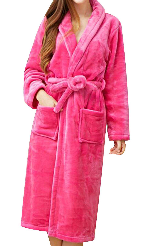 63de97c574 Get Quotations · TRENDY XU Women Rose Red Flannel Fleece Robe Sleepwear  Kimono Collar Bathrobe