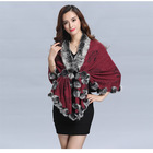 2017 New design Woman knitted shawls with rex rabbit fur poms figure lady cappa