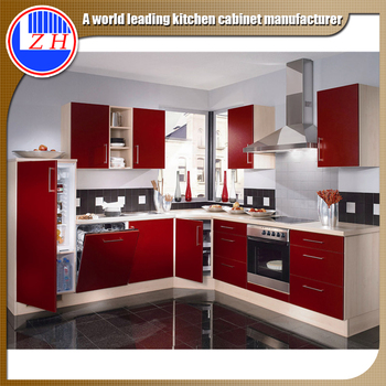 Factory Price High Gloss Finish Red Kitchen Cabinet Laminate Sheet Cabinets