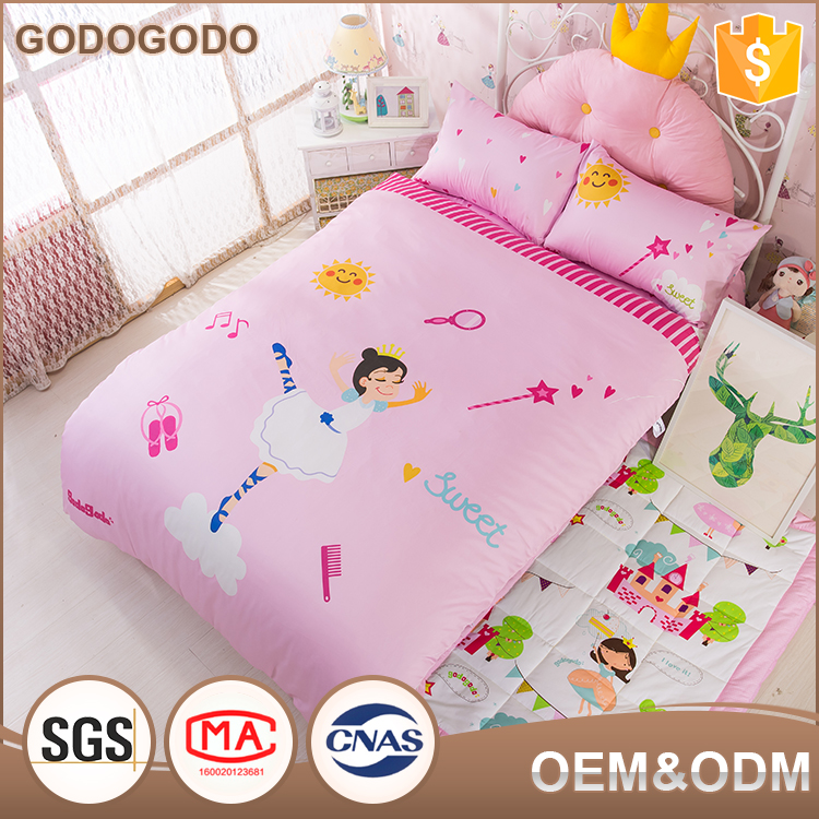 Custom Cartoon Printed 6Pcs Queen Size Luxury Comforter Sets 100% Cotton Cover 3D Girls Comforter Sets