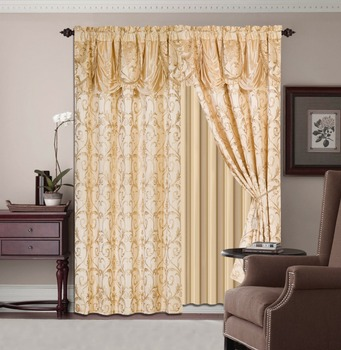 5pcs Luxury Jacquard Window Curtains With Attached Valance And