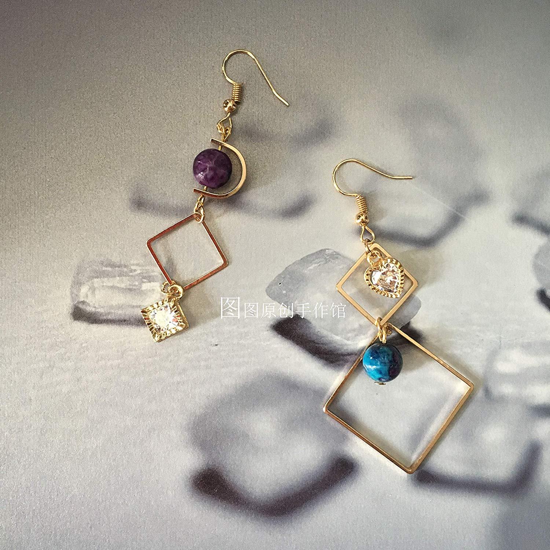 MUPWG Custom Gold Earrings Earring Ear Dangler Retro Package Elegant Long Handmade Diamond Zircon Clip Natural Stones (18k Gold-Ear Hook
