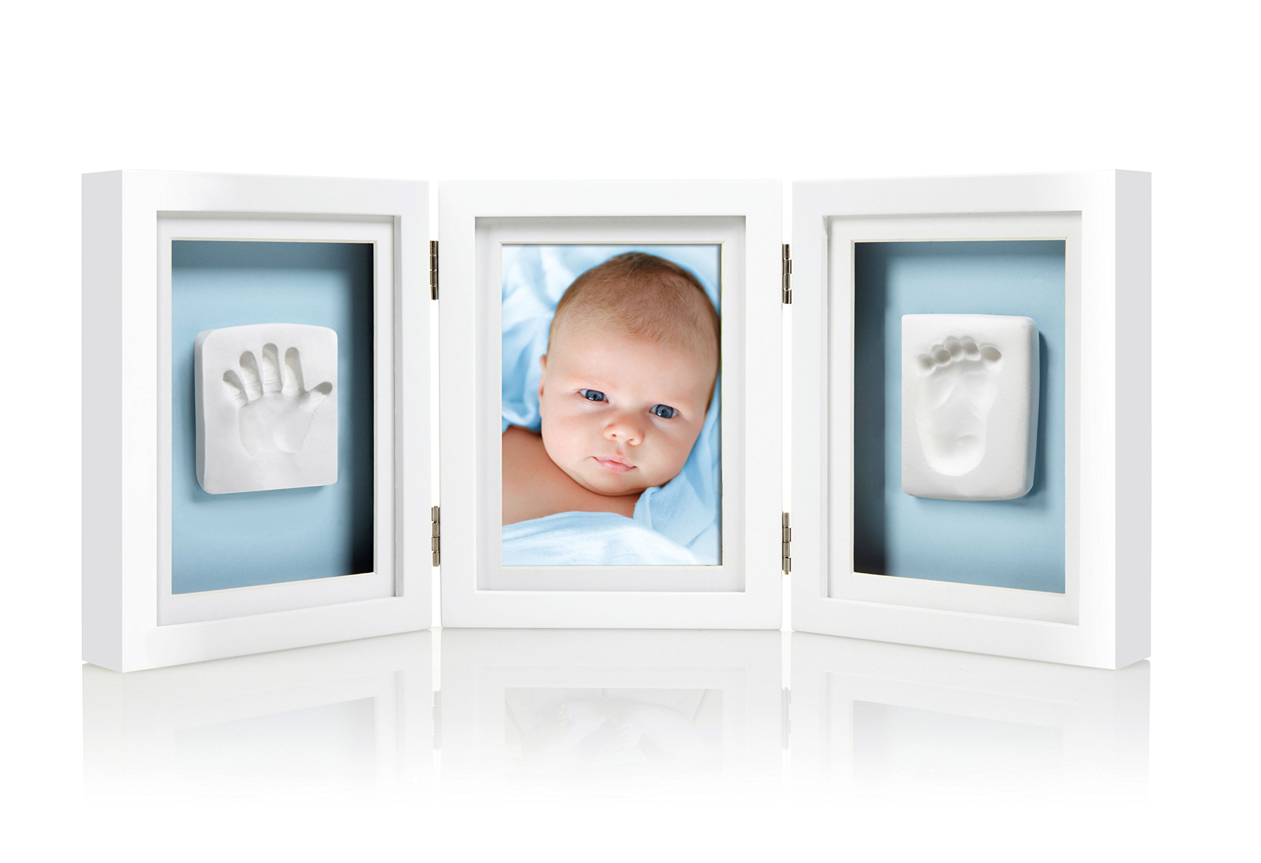 Pearhead Babyprints Newborn Baby Handprint and Footprint Deluxe Desk Photo Frame & Impression Kit - Makes A Perfect Baby Shower Gift, White