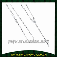 14K White Gold 2mm Beads Our Lady Guadalupe Rosary Necklace