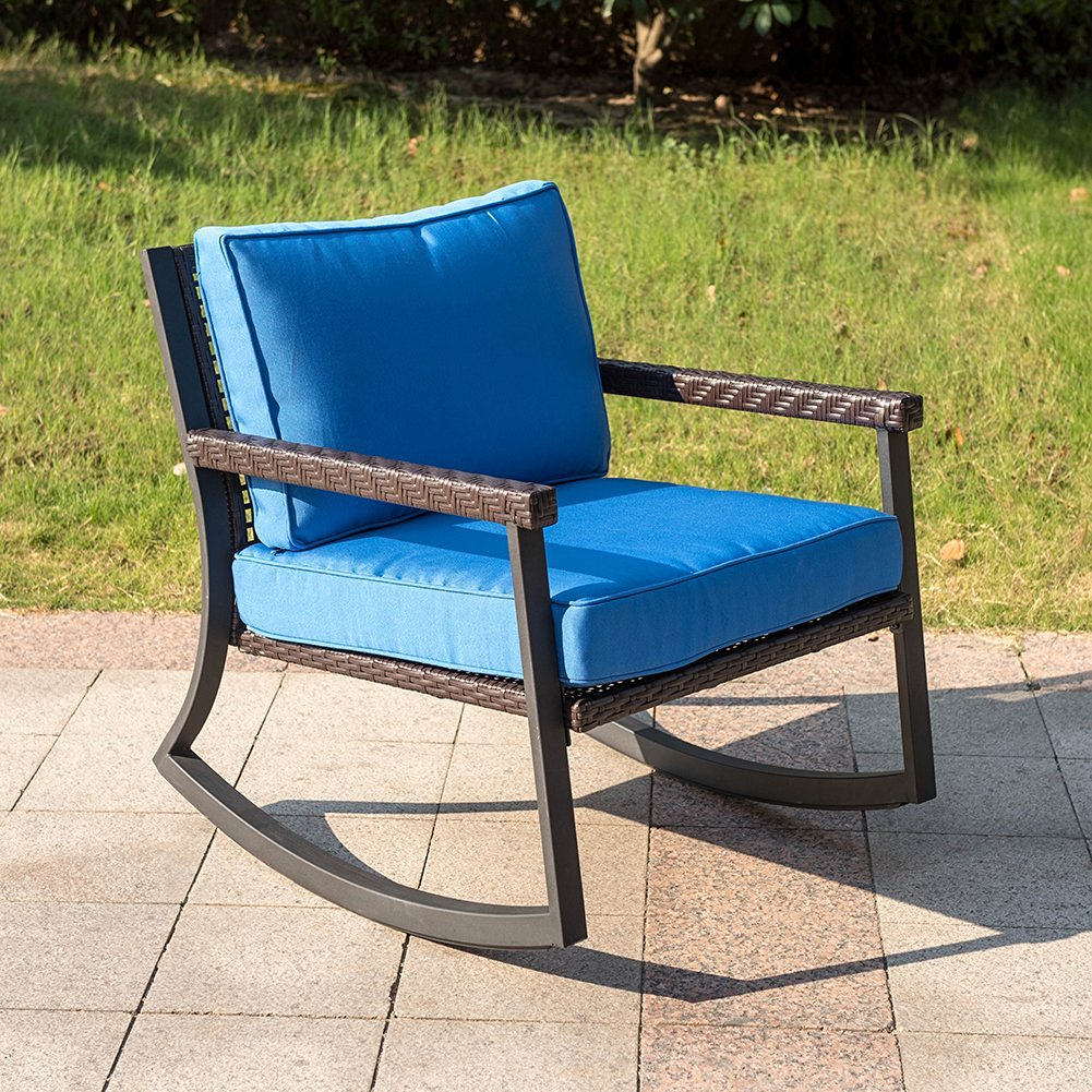 Sundale Outdoor All Weather Wicker Rocking Chair with Cushion Patio Porch Deck Furniture Luxury Chair, Capacity 200 Pounds, Blue