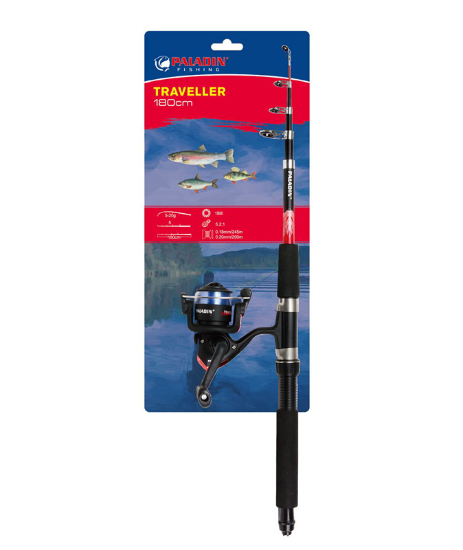 1.8m Fiber Glass Telescopic fishing Rod and Reel Combo with Spinning kit and strong line in discount fishing gear