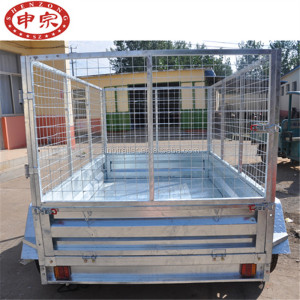 customized 8*5ft tandem galvanized cage utility car trailer