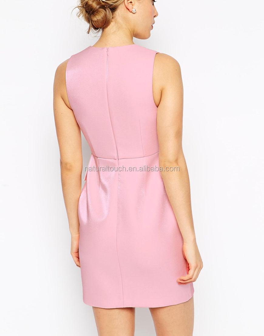 Metallic Shimmer Plunge Peplum Rosa Corto Atractivo Apretado Lápiz ...