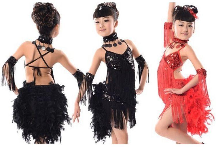f3f0890d16f4c Get Quotations · Girls 110-160 Latin Dance Dress Ballroom Competition  Performance Latin Fringe Dress 4 Colors Dance