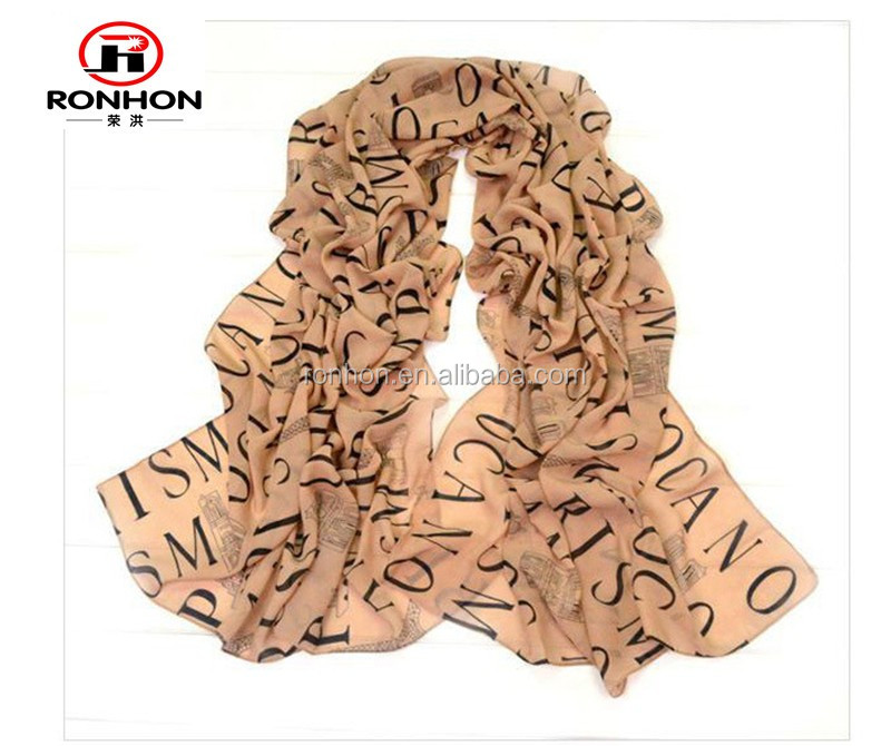 2016 new design letters printed chiffon fashion scarf